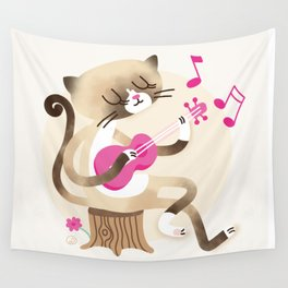 Miko playing ukulele Wall Tapestry