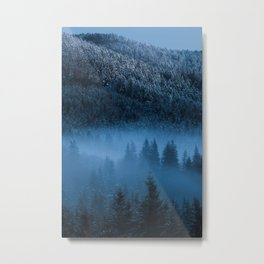 Magical fog over snowy spruce forest Metal Print