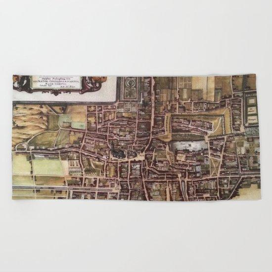 Replica city map of The Hague 1649 Beach Towel