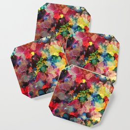 Color Burst - abstract iridescent painting in yellow, red, blue, pink and green Coaster
