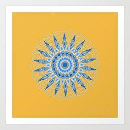Gold Blue Aztec Mandala Design Art Print