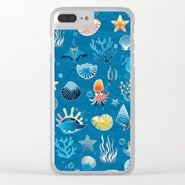 playful sea life Clear iPhone Case