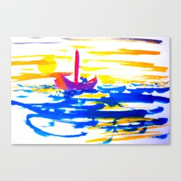Sailboat at sea in sunset Canvas Print