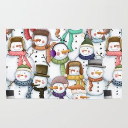 Happy Snowmen Pattern Rug