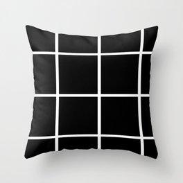 Big Grid Black Throw Pillow