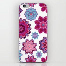 Flower retro pattern. Purple and blue flowers on white background. iPhone Skin