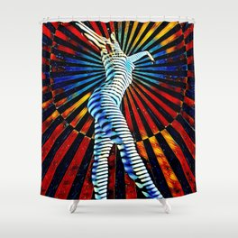 74440-MM_2352 New Op Art Nude Woman Attuning the Universe Powerful Colorful Creative Energy Shower Curtain