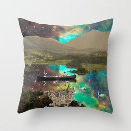 CANOEING IN THE NEBULA NEAR THE CASTLE Throw Pillow