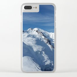 Awesome white snowy Mont Bla   nc Alps mountains in Italy, France, Europe on a beautiful winter day Clear iPhone Case