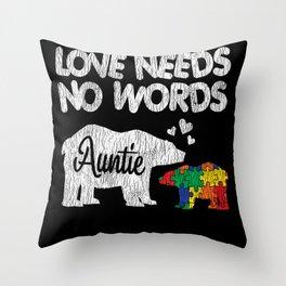 Autism Awareness Auntie Bear Family Autistic Kids Throw Pillow