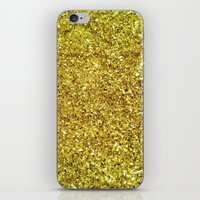 gold glitter iPhone & iPod Skins featuring GOLD GLITTER by natalie sales