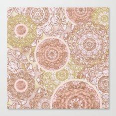 Rosey Gold Mandalas Canvas Print