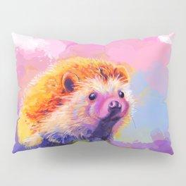 Sweet Hedgehog, cute pink and purple animal painting Pillow Sham