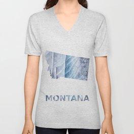 Montana map outline Light steel blue clouded wash drawing Unisex V-Neck
