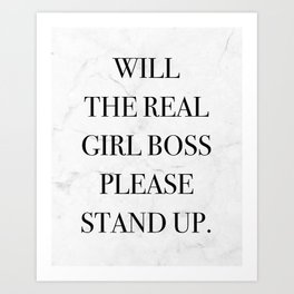 Girl Boss Quote Print Marble Art Print