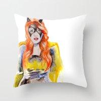 batgirl Throw Pillows featuring BATGIRL by Clementine Petrova