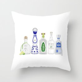 Tequila Bottles Illustration Throw Pillow