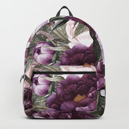Purple Plum Pink Watercolor Peonies and Greenery Backpack