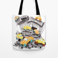 newspaper Tote Bags featuring Newspaper Taxis by Jemma Banks