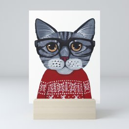Ugly Christmas Sweater Cat Mini Art Print