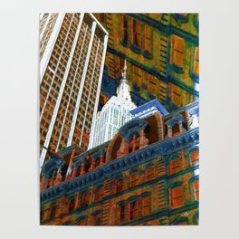 New York City Up Is Down Down Is Up Orange Poster