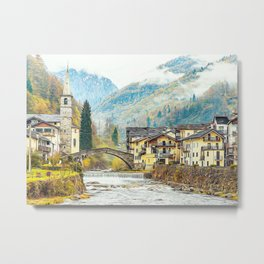 Typical village in the Alps in autumn Metal Print