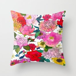 Peonies & Roses Throw Pillow