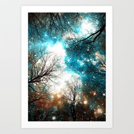 Black Trees Turquoise Brown Space Art Print