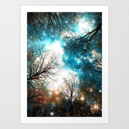 Black Trees Turquoise Brown Space Art Print