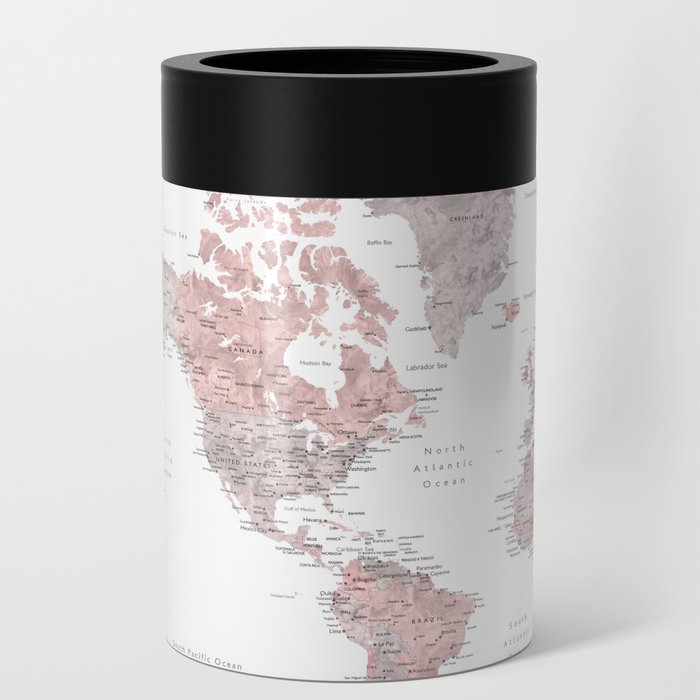 Dusty pink and grey detailed watercolor world map Can Cooler