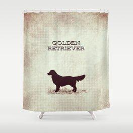 Retro Golden Retriever Distressed Paper Shower Curtain