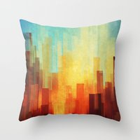 snow Throw Pillows featuring Urban sunset by SensualPatterns