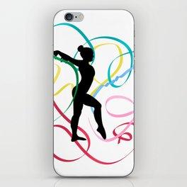 Ribbon dancer on white iPhone Skin
