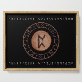 Perthro Elder Futhark Rune of fate and the unmanifest, probability, luck, nothingness, the unborn Serving Tray