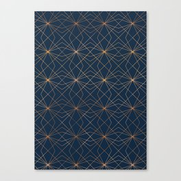 Navy & Copper Geo Lines Canvas Print