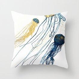 Metallic Jellyfish II Throw Pillow