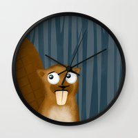 beaver Wall Clocks featuring Beaver by makoshark