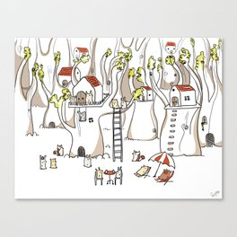 Forest animals waiting for the holidays Canvas Print