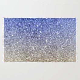 Modern sky blue faux gold ombre glitter Rug