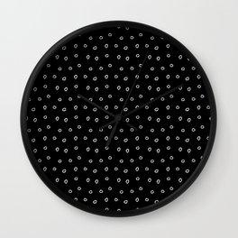 Black and white minimal hand drawn ring pattern Wall Clock