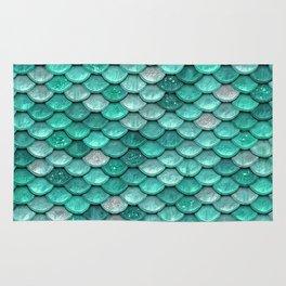 Aqua & Mint Mermaid Glitter Scales - Luxury Mermaid Scales Rug