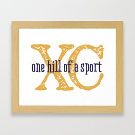 Purple & Gold XC: one hill of a course (cross country) Framed Art Print