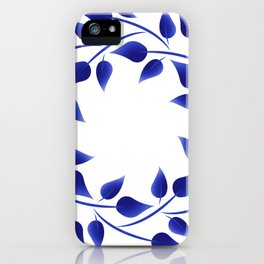 Blue leaf weave iPhone Case