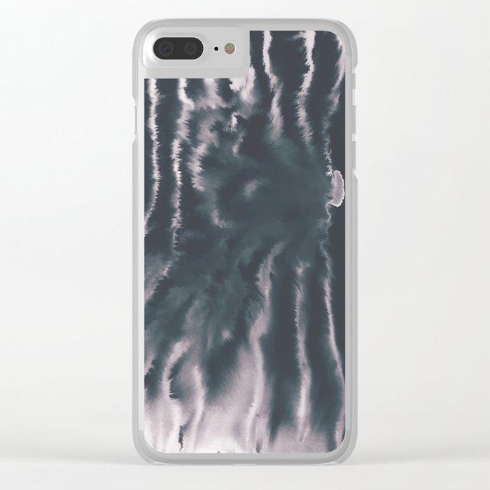 F-Tie dye- blue & white Clear iPhone Case