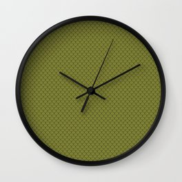 Olive Green Scales Pattern Wall Clock
