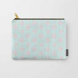 Merry christmas- pink snowflakes and snow on aqua background I Carry-All Pouch