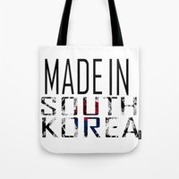 korea Tote Bags featuring Made In South Korea by VirgoSpice