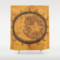 sun and moon Shower Curtains featuring Sun Moon Star by Geni