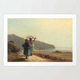 Deux femmes causant au bord de la mer, Saint Thomas (Camille Pissarro) Art Print