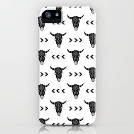 Longhorn linocut southwest black and white minimal pattern desert designs iPhone Case